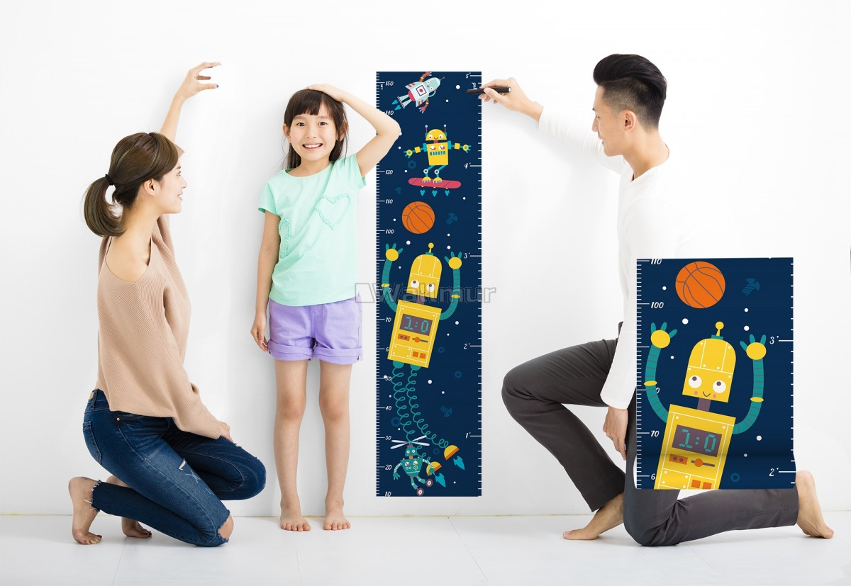 Kids Height Ruler with Robots Wall Decal Sticker