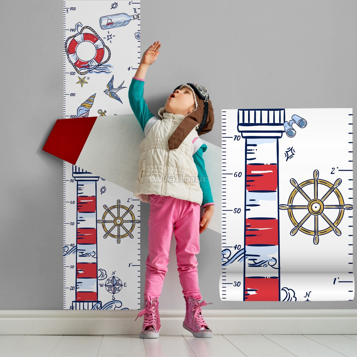 Kids Sailor Height Chart Wall Sticker Decal