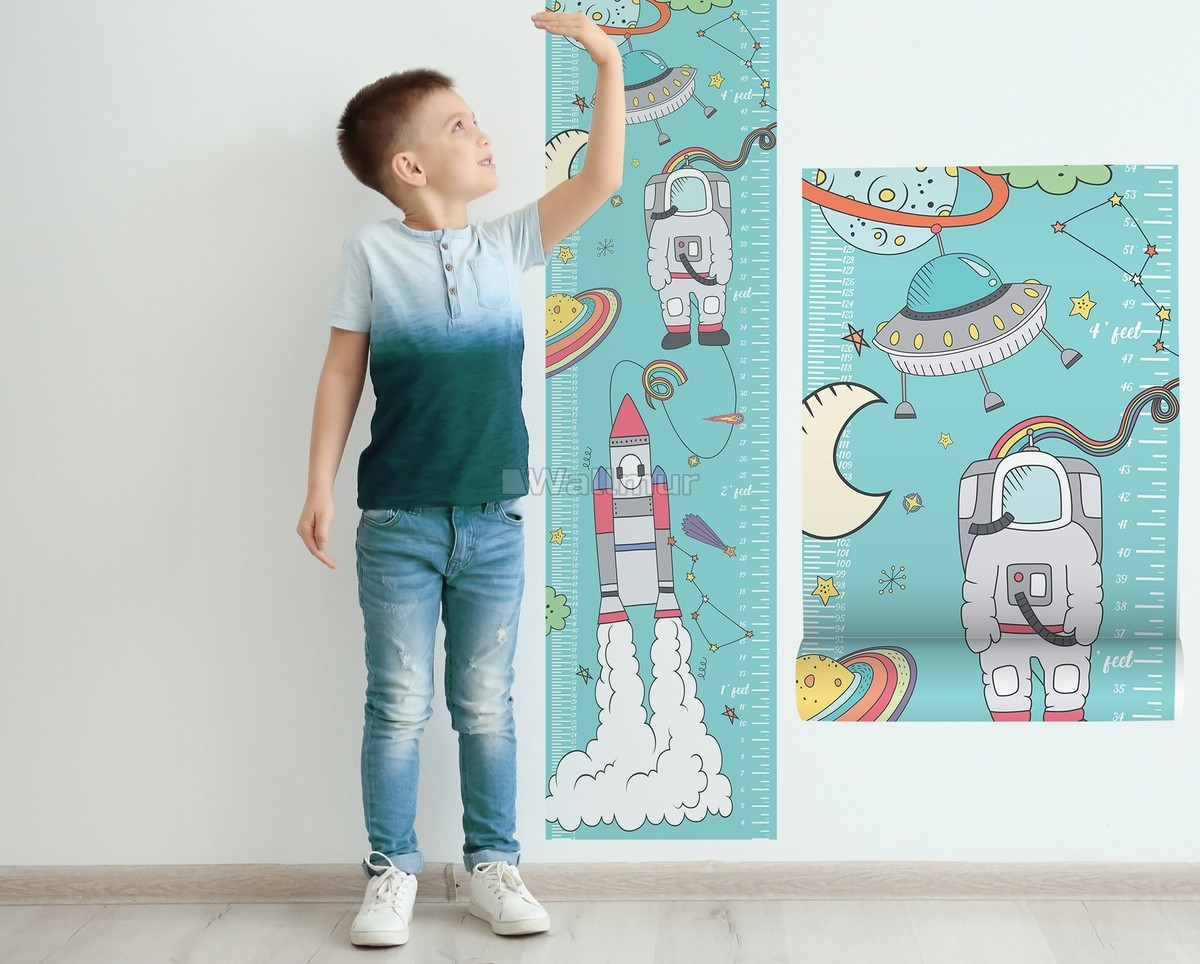 Kids Space Growth Chart Wall Sticker Decal