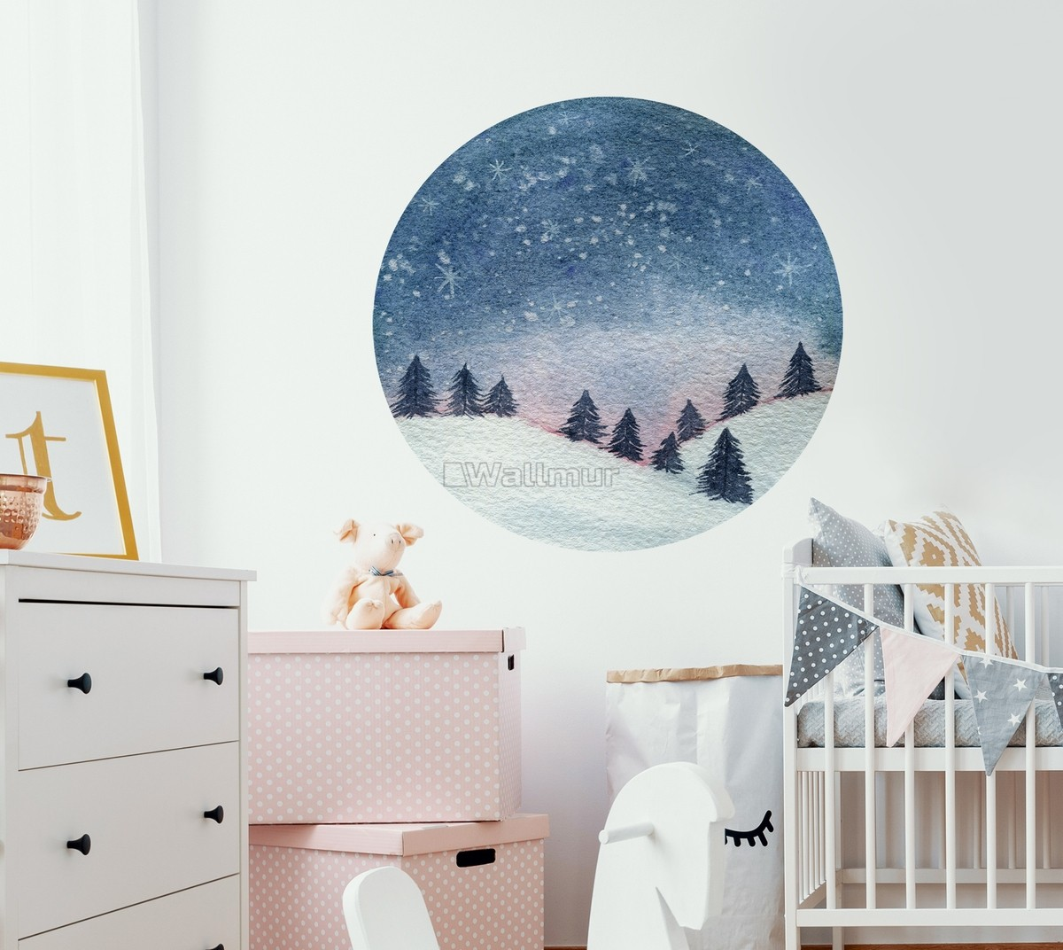 Snowy Forest Circle Landscape Wall Decal Sticker