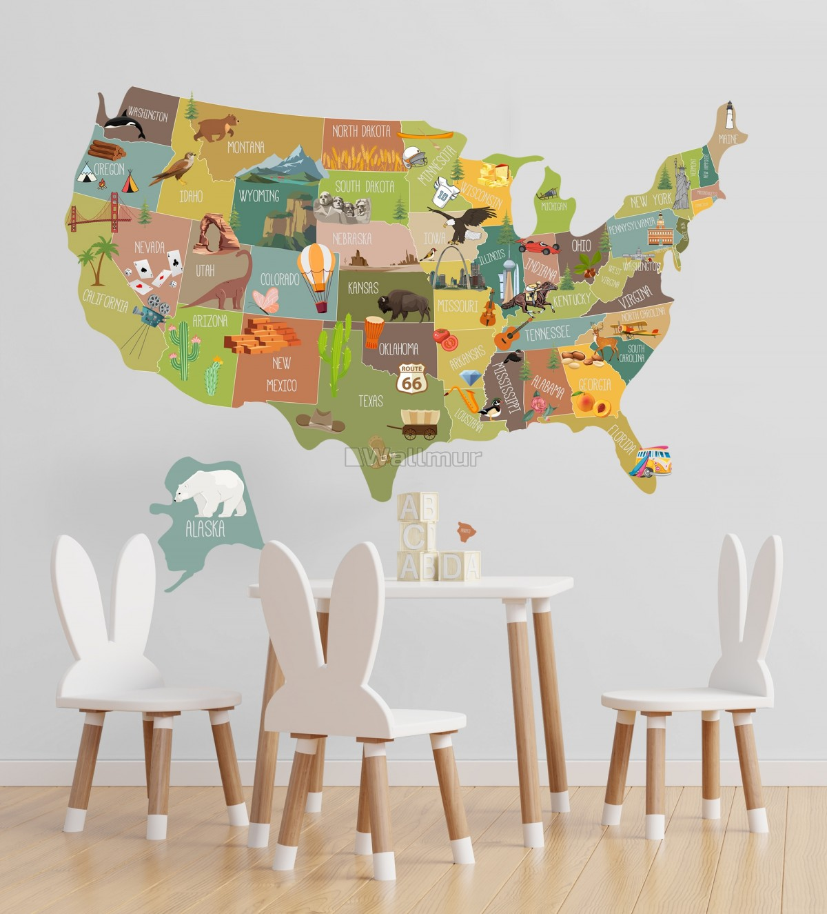 United States Map Wall Decal Sticker for Kids Room