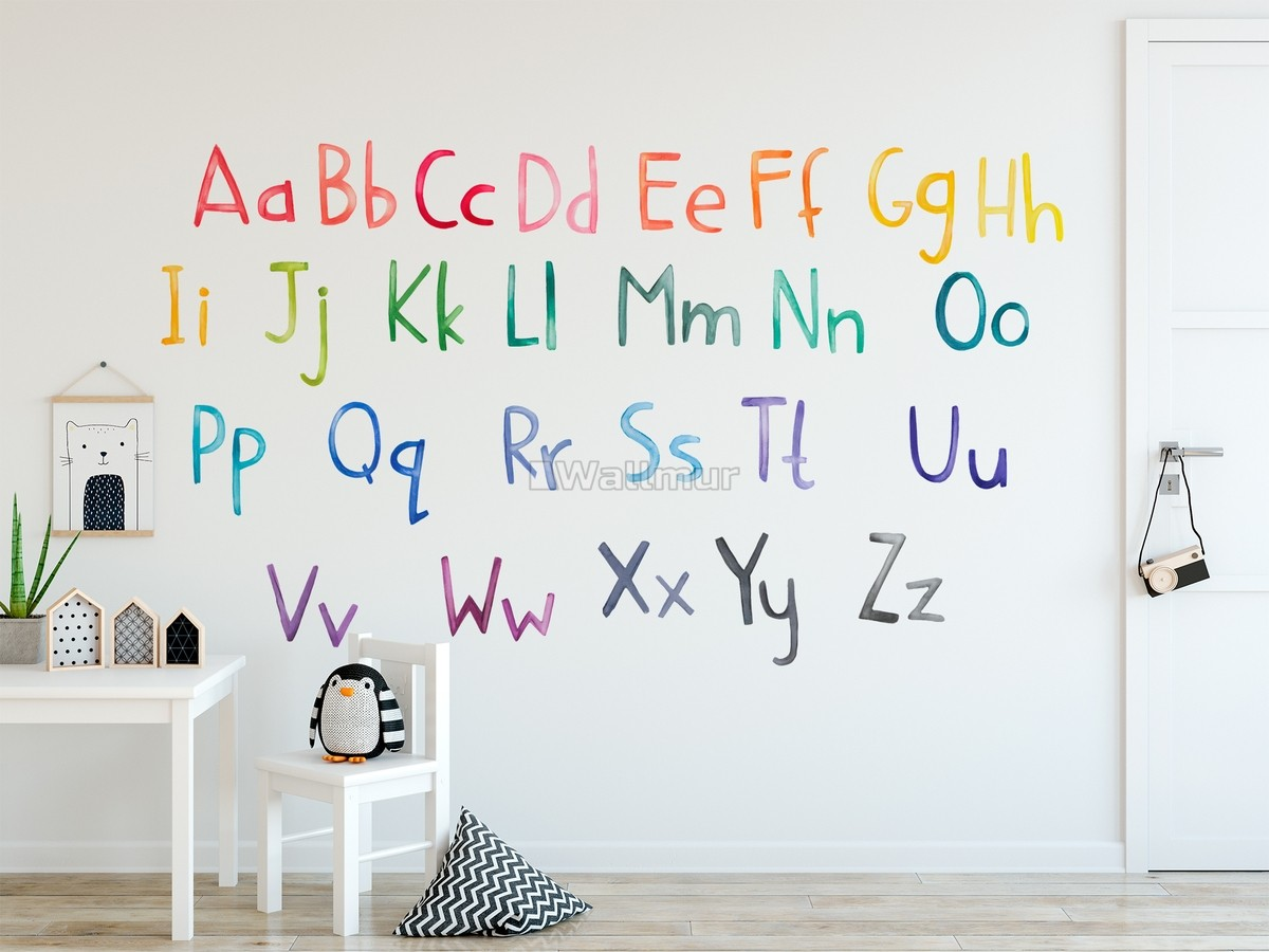 Watercolor Alphabet Wall Decal Sticker
