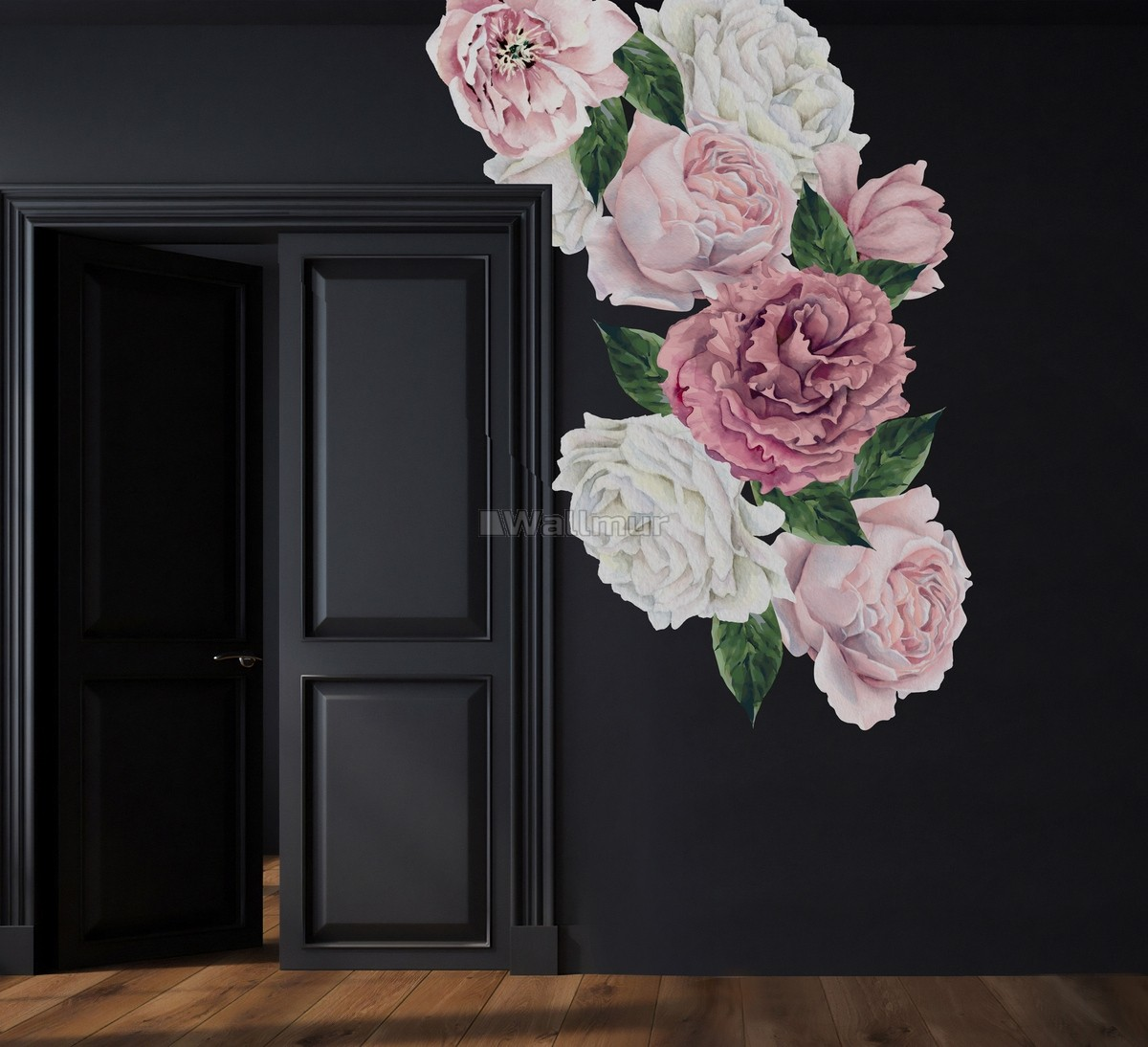 Watercolor Pink and White Peony Floral Bouqet with Rosebud Wall Decal Sticker