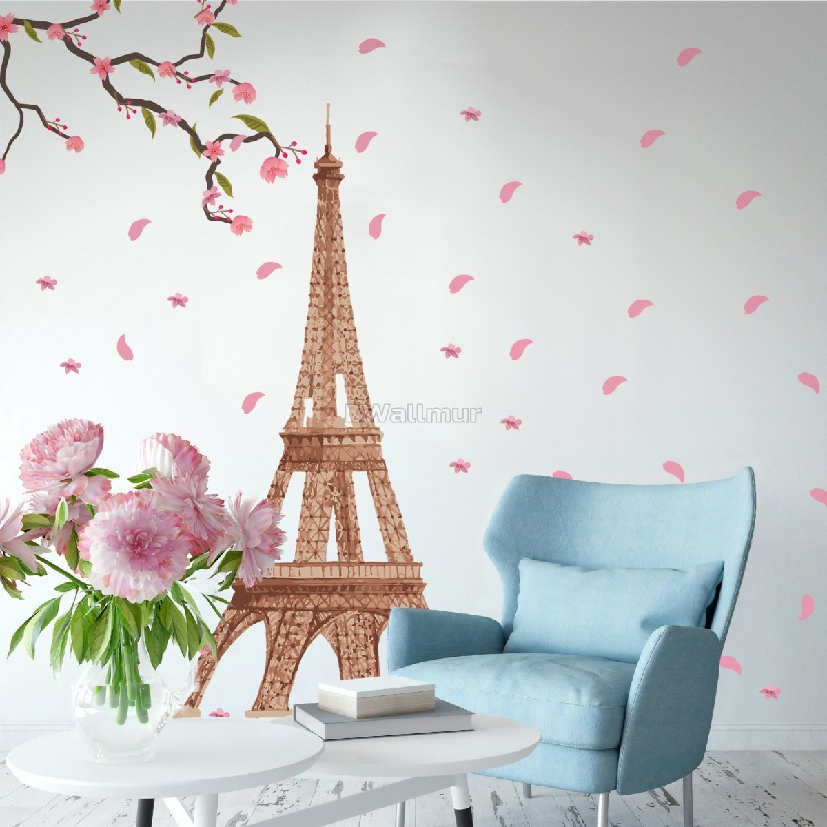 Paris Eiffel Tower with Cherry Blossom Wall Decal Sticker