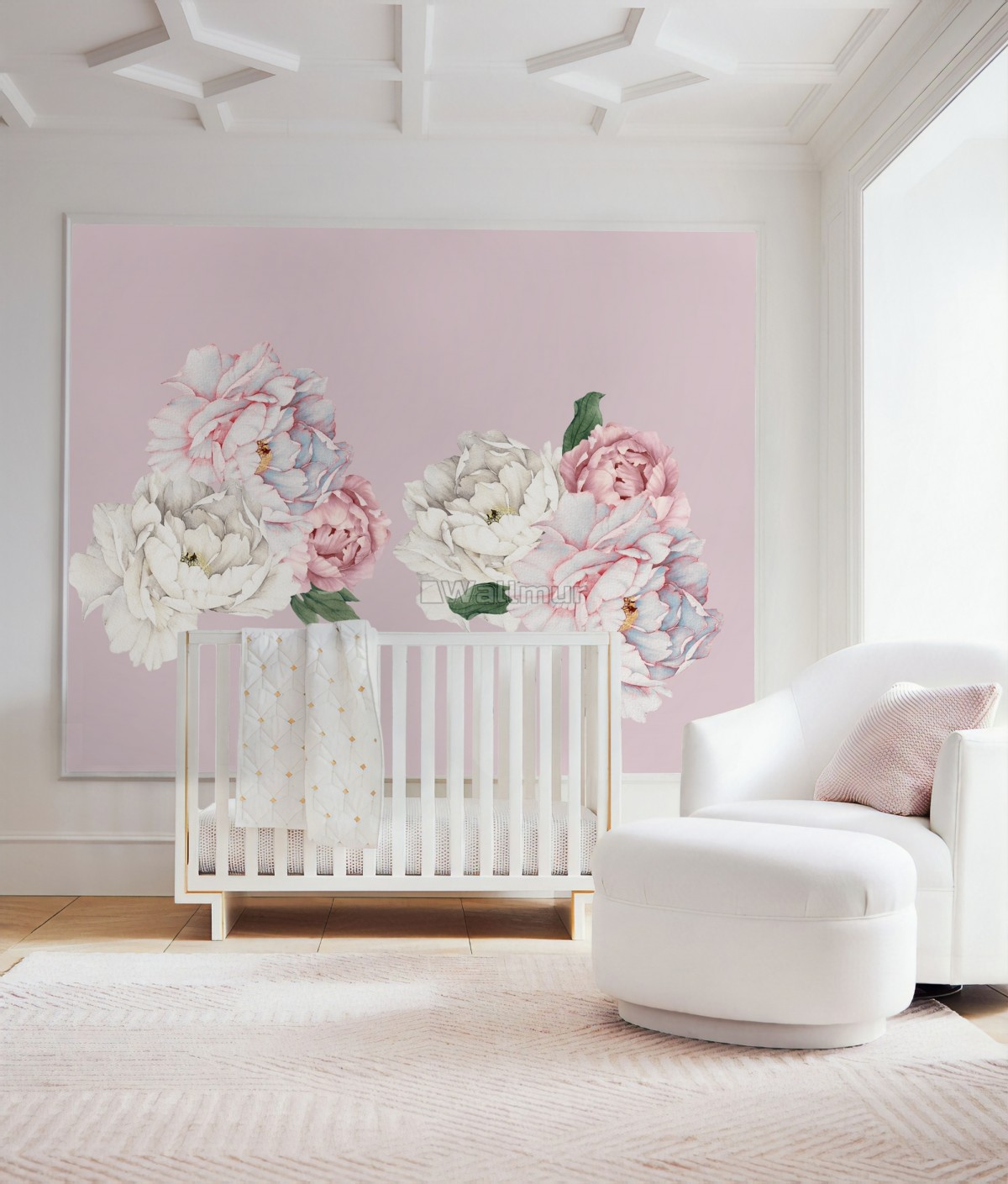 Blue Pink Peony Floral Bouqet Wall Decal Sticker