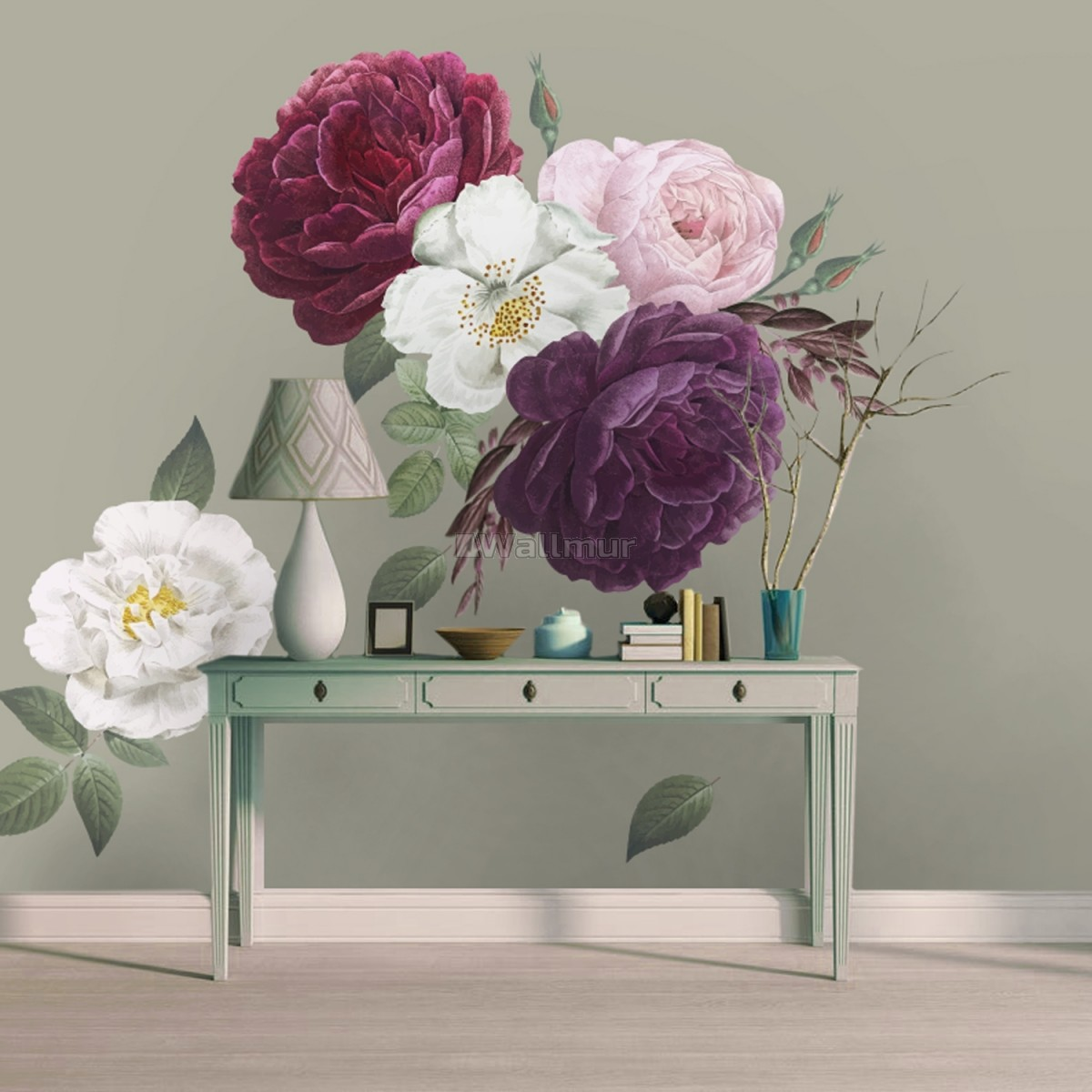 Colorful Peony and White Daisy Floral Bouqets Wall Decal Sticker