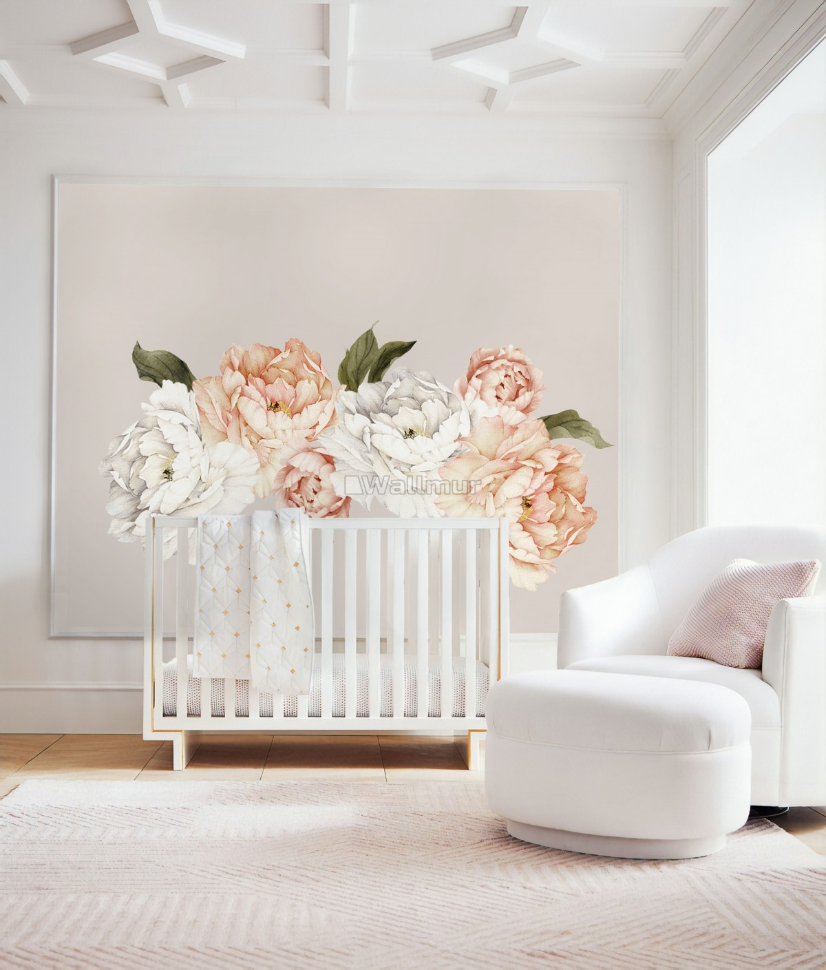 Orange White Peony Floral Boquets Wall Decal Sticker