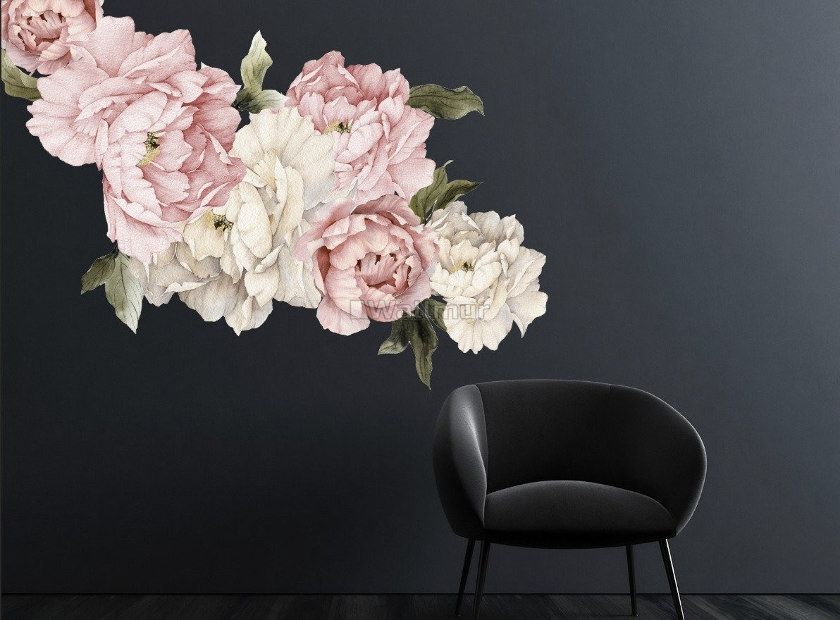 Pink White Peony Floral Bouqets Wall Decal Wall Decal Sticker