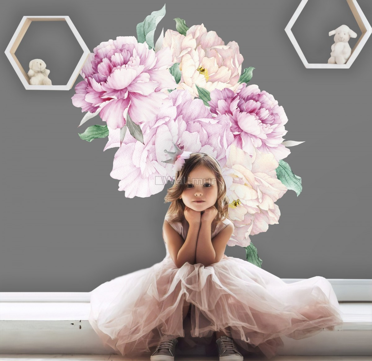 Watercolor Pink White Floral Bouqets with Green Leaf Wall Decal Sticker