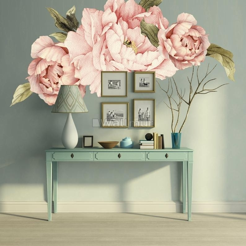 Pink Peony Florals with Green Leaf Wall Decal Sticker