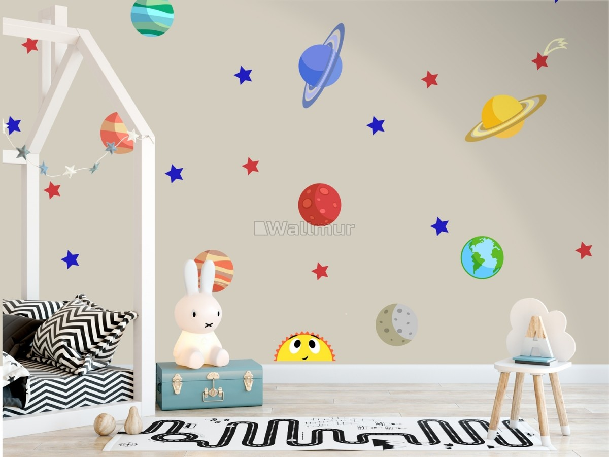 Colorful Planets and Happy Sun with Stars Wall Decal Sticker