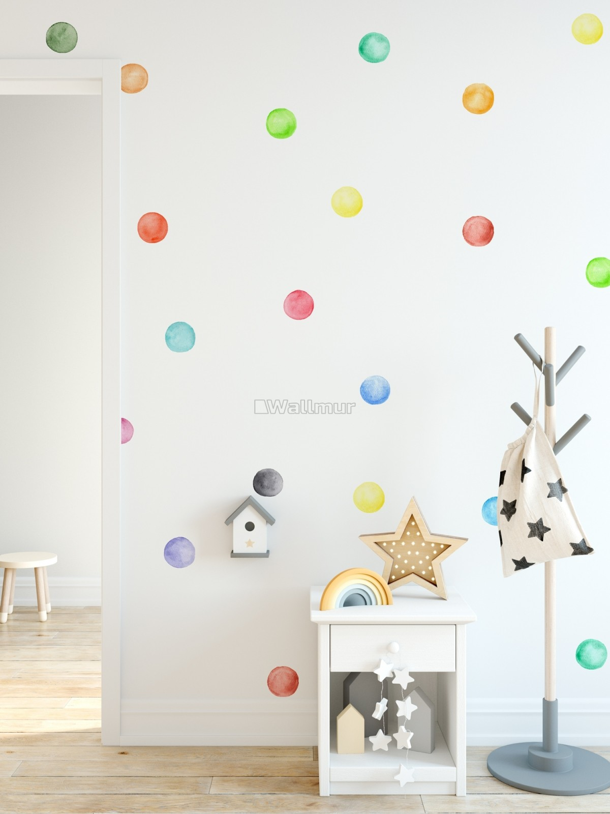 Kids Watercolor Colorful Polka Dots Wall Decal Sticker