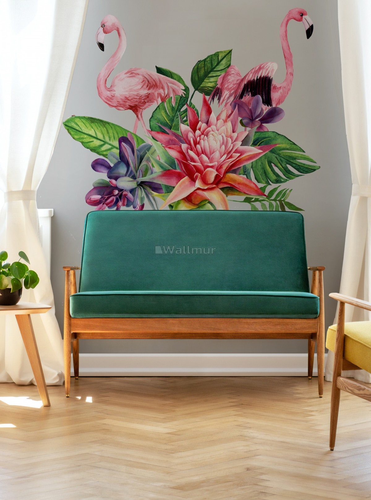 Tropical Protea Floral with Flamingo Wall Decal Sticker