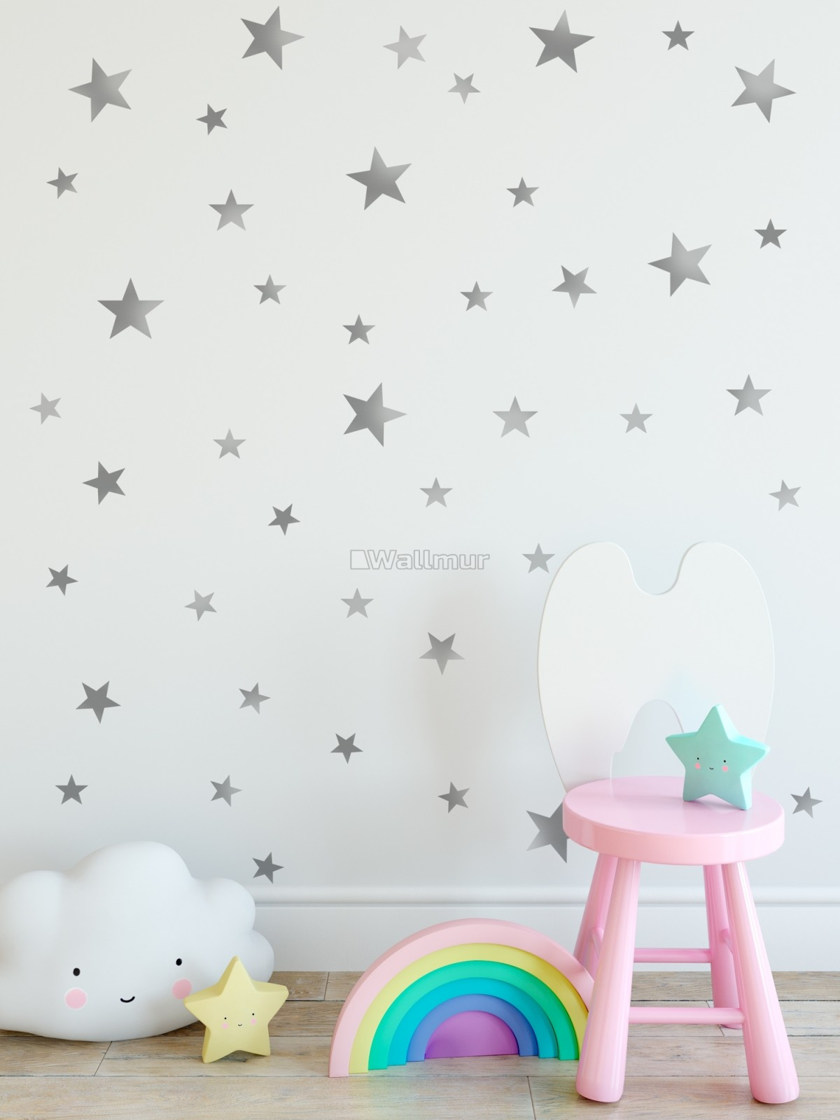 Metallic Silver Little Stars Wall Decal Sticker