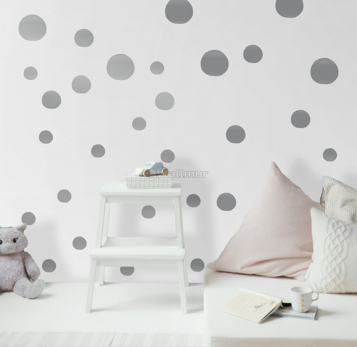 Silver Polka Dots Wall Decal Sticker