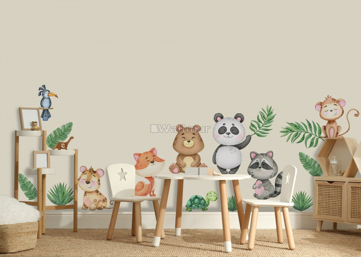 Kids Cute Animals with Banana Leaves Wall Decal Sticker