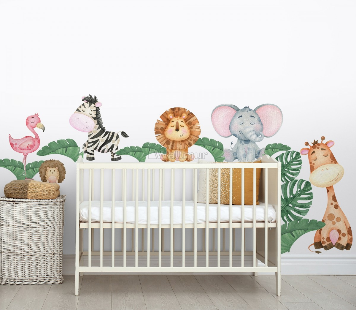 Kids Cute Forest Animal with Banana Leaves Wall Decal Sticker