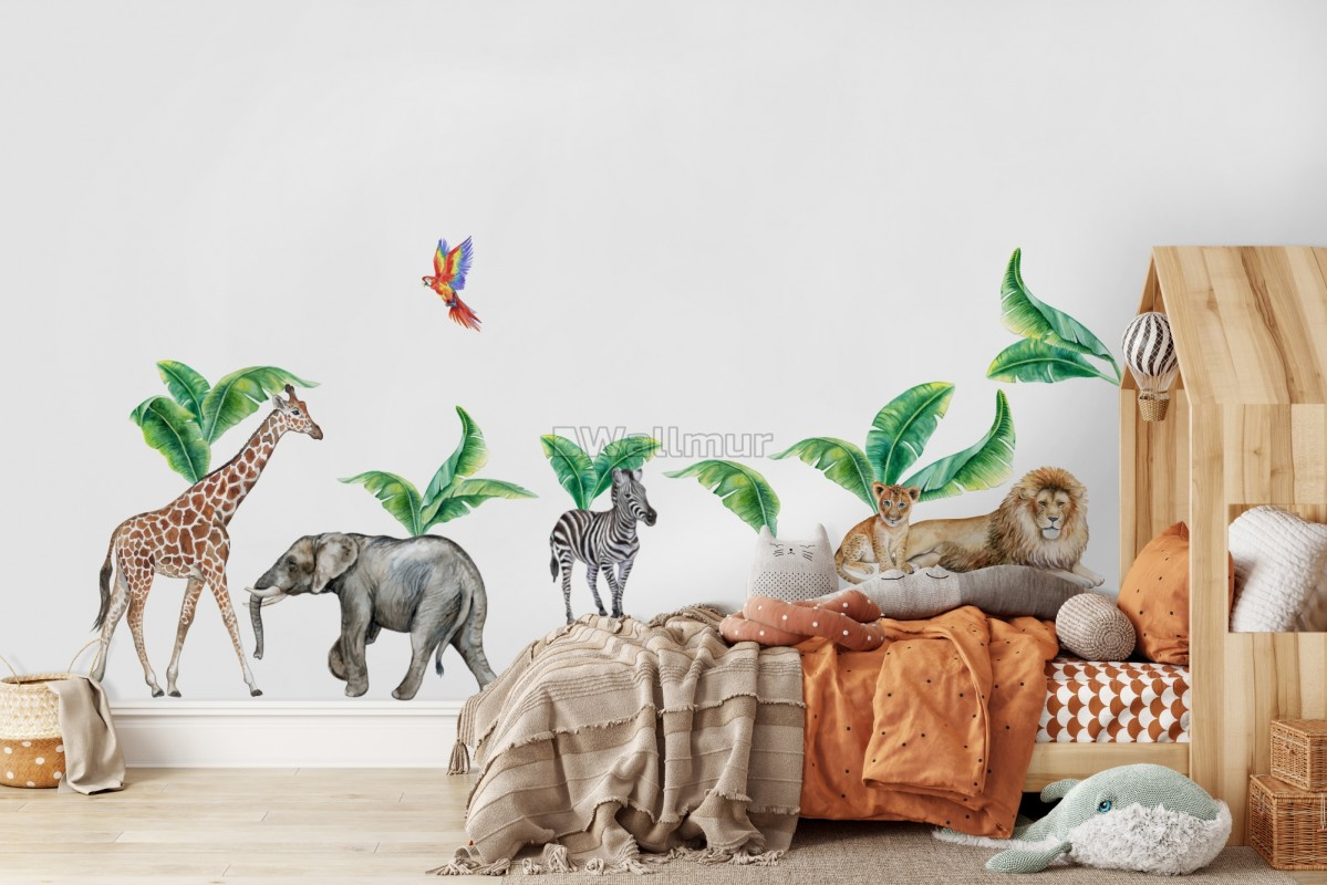 Kids Watercolor Safari Animals with Banana Leaves Wall Decal Sticker