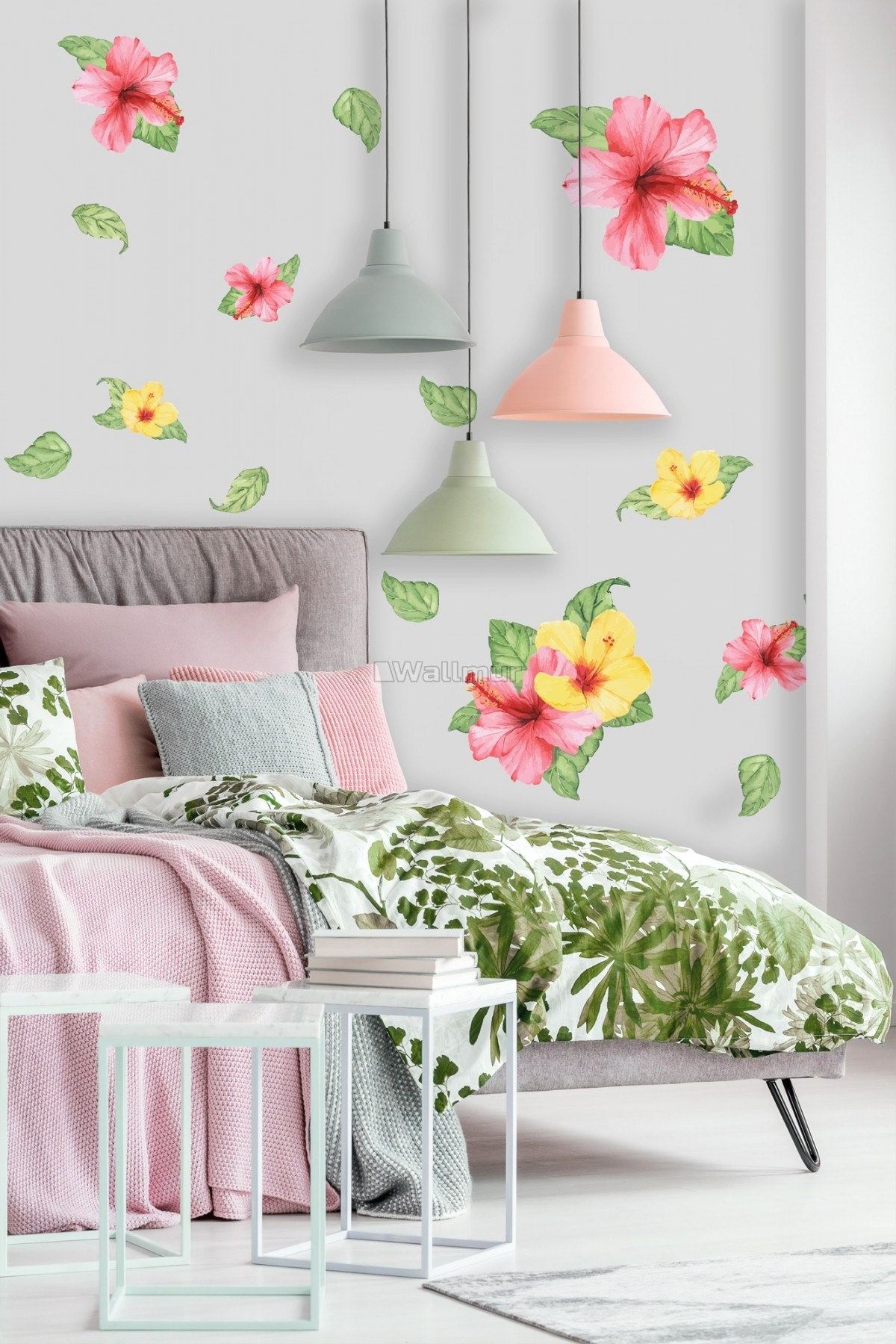 Pink Yellow Mirabilis Floral and Tropical Green Leaf Wall Decal Sticker