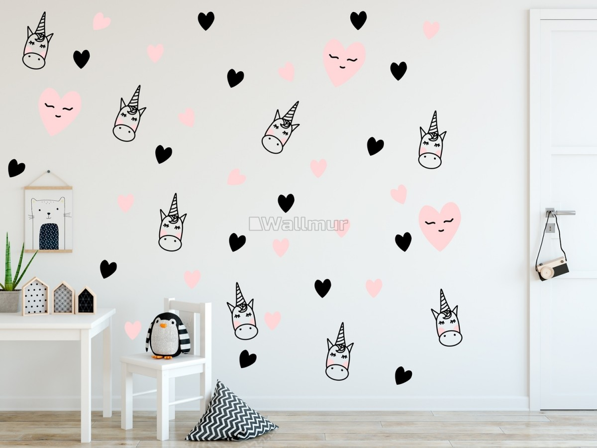Pink Unicorn and Little Hearts Wall Decal Sticker