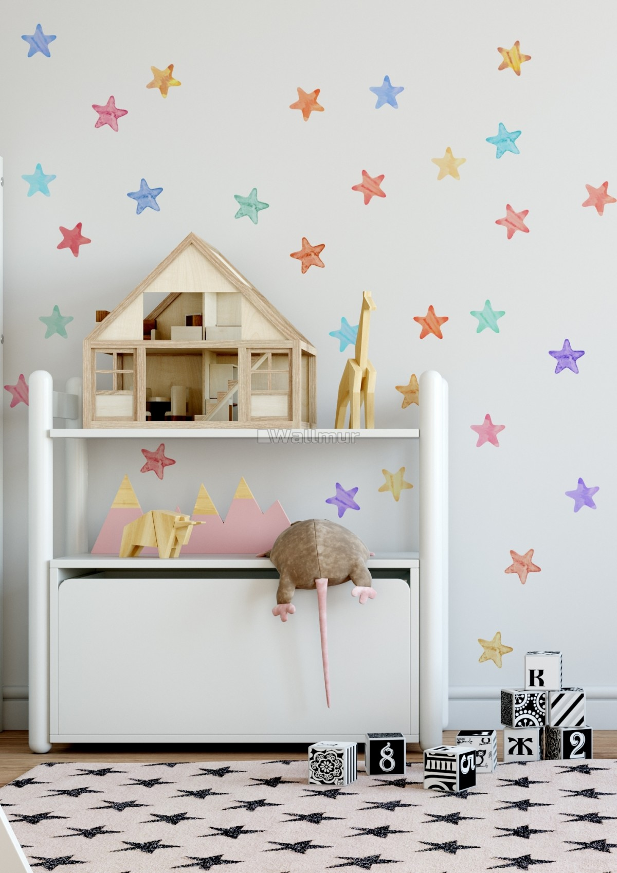 Colorful Watercolor Stars Wall Decal Sticker