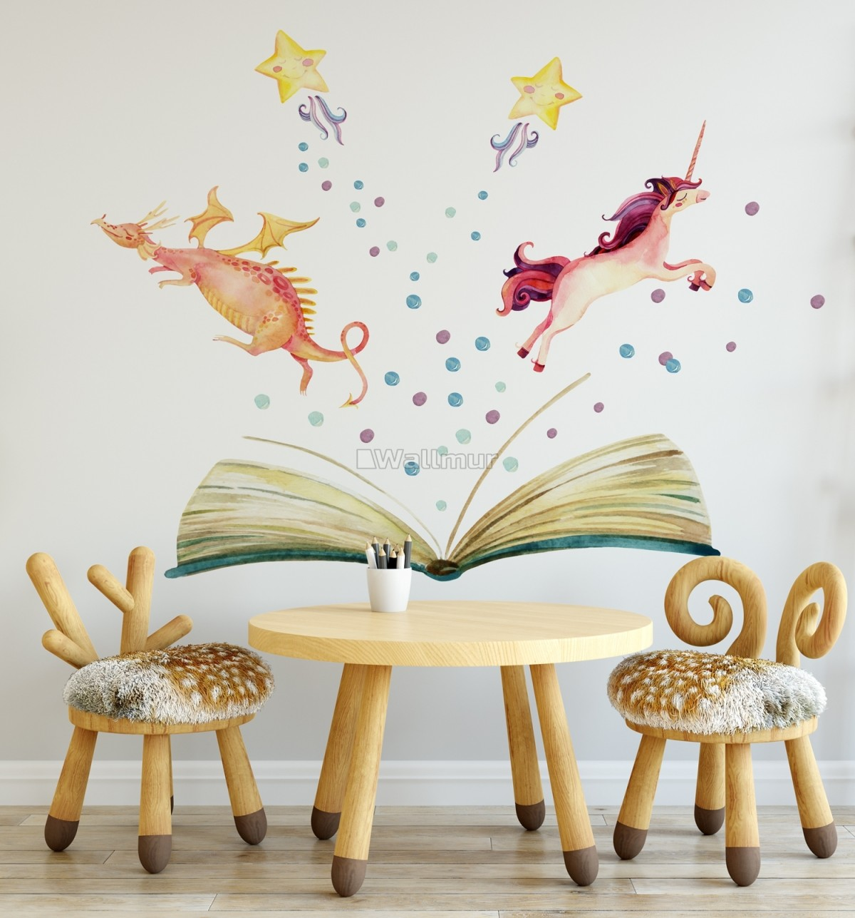 Kids Watercolor Unicorn and Dinosaurs in the Storybook Wall Decal Sticker