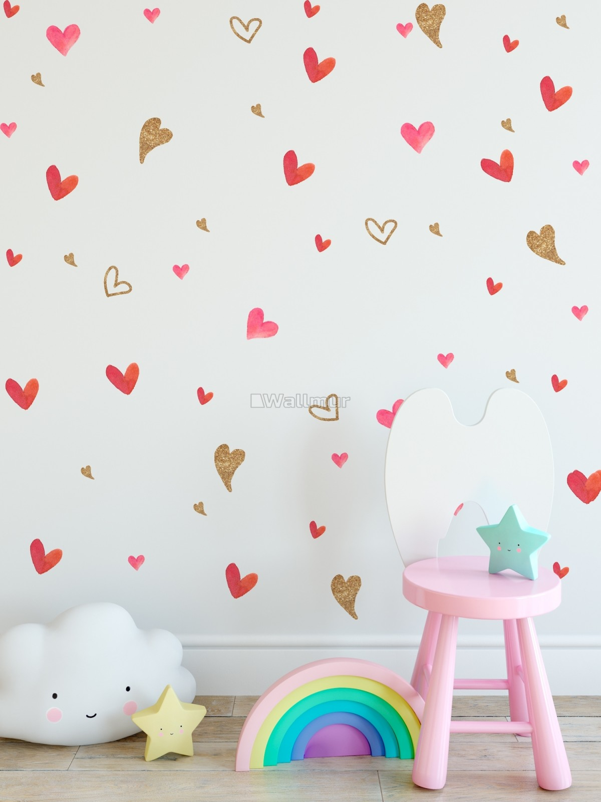 Watercolor Little Red and Gold Hearts Wall Decal Sticker