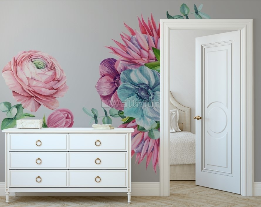 Watercolor Pink Protea with Ranunculus and Tulips Wall Decal Sticker