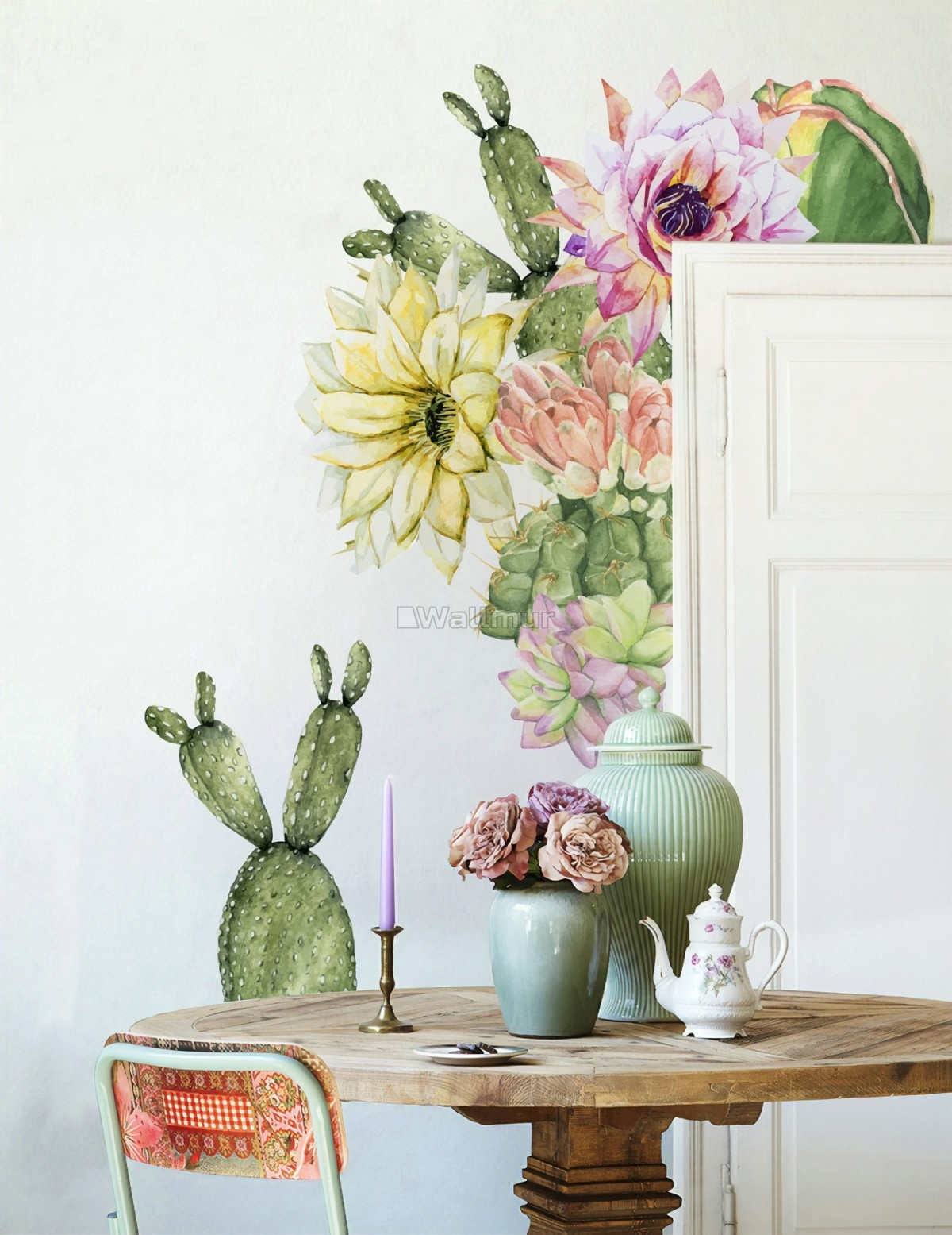 Watercolor Pink Yellow Cactus Florals Wall Decal Sticker
