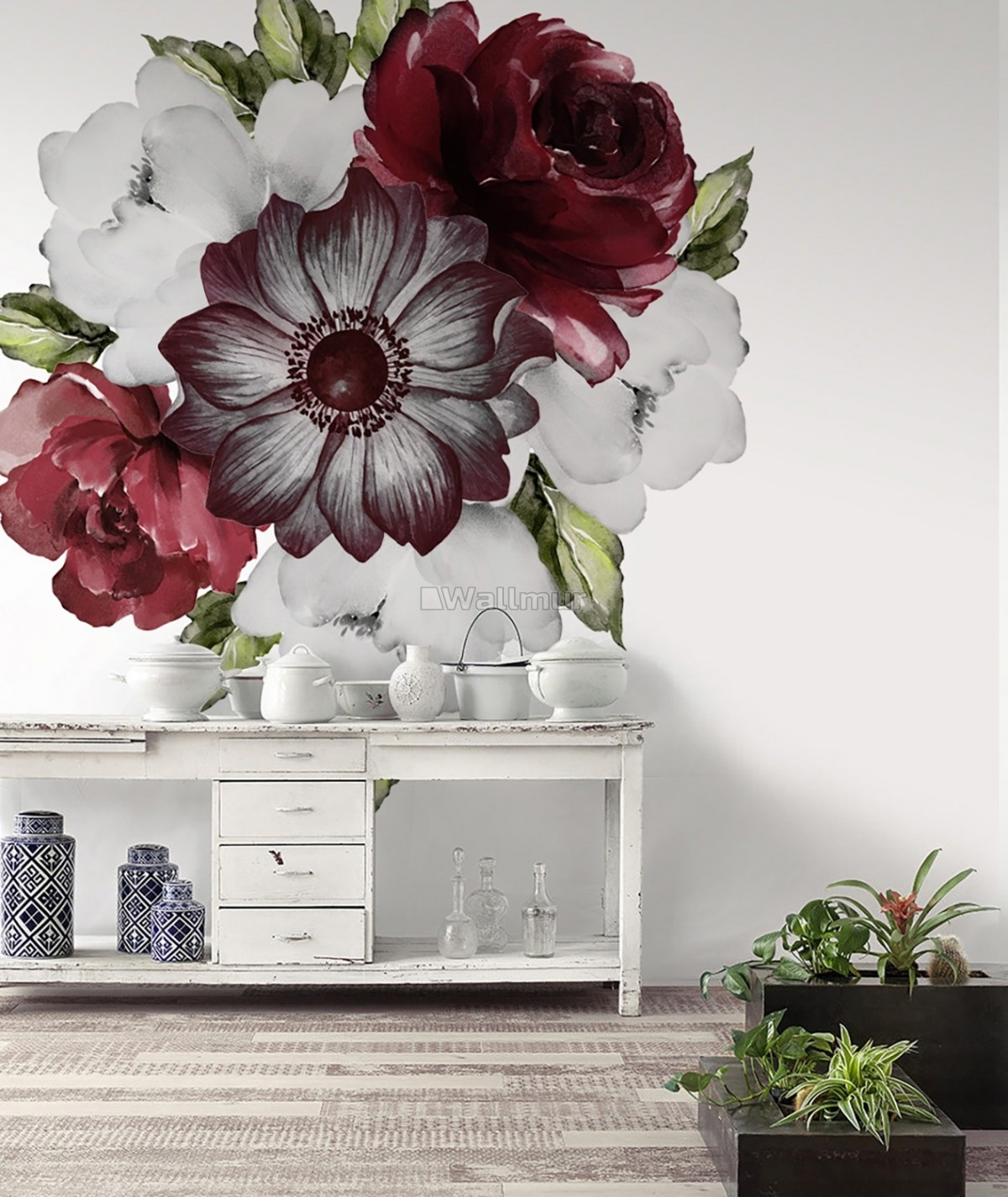 Watercolor Red Rose and Anemone Floral Bouqets Wall Decal Sticker