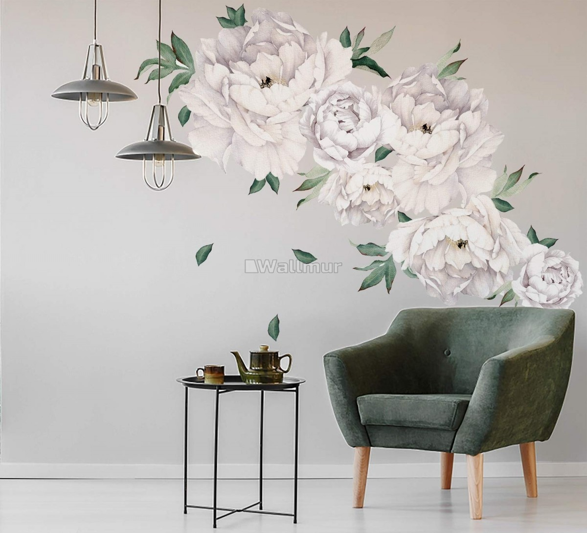 White Peony Floral with Green Leaves Wall Decal Sticker