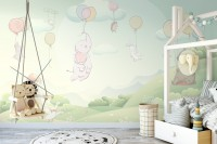 Animals Flying with Balloon Wallpaper Mural