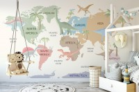 Kids Dinosaur World Map Wallpaper Mural