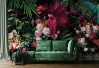 Pink Parrot with Colorful Floral Wallpaper Mural