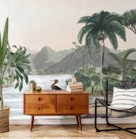 Tropical Nature Landscape with Birds Wallpaper Mural