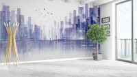 Black Green Dark Cityscape Wallpaper Mural