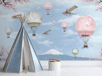Cherry Blossom with Pink Hot Air Balloon Wallpaper Mural