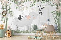 Panda Bear on Elephant Wallpaper Mural