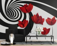 Red Poppy Floral with Abstract Fractal Wallpaper Mural