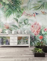 Colorful Tropical Exotic Cactus Floral with Little Birds Wallpaper Mural