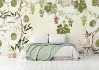 Soft Tropical Grape Trees and Durian Fruits Wallpaper Mural