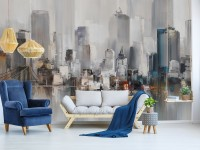 Watercolor Painting New York City Landscape Wallpaper Mural
