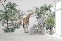 Kids Tropical Animals with Mountain Wallpaper Mural