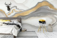 Abstract Line and Gold Smoke Pattern Wallpaper Mural