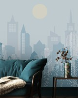 Blue Monochrome Cityscape and Soft Sun Wallpaper Mural
