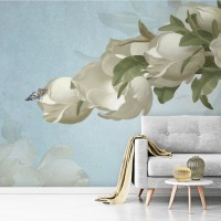 Gardenia Floral and Butterfly Wallpaper Mural