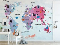Kids World Map with Cute Animals Wallpaper Mural