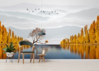 River Landscape and Yellow Autumn Trees Wallpaper Mural