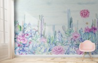 Vintage Hydrangea Flowers and Cactuses Wallpaper Mural