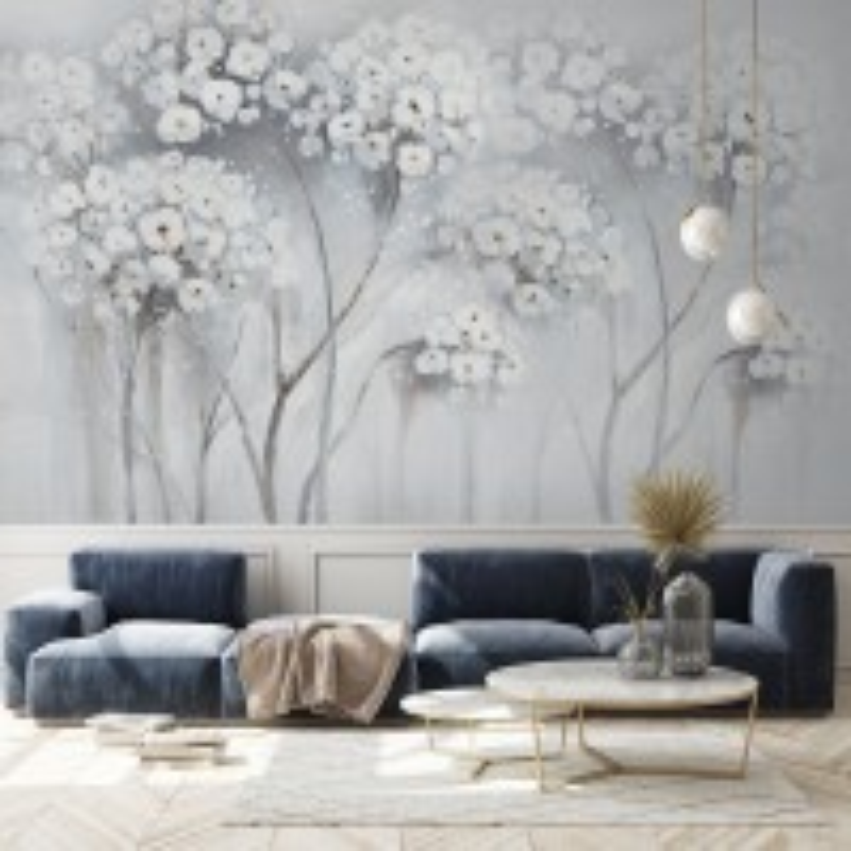 Watercolor Painting White Flowers Wallpaper Mural